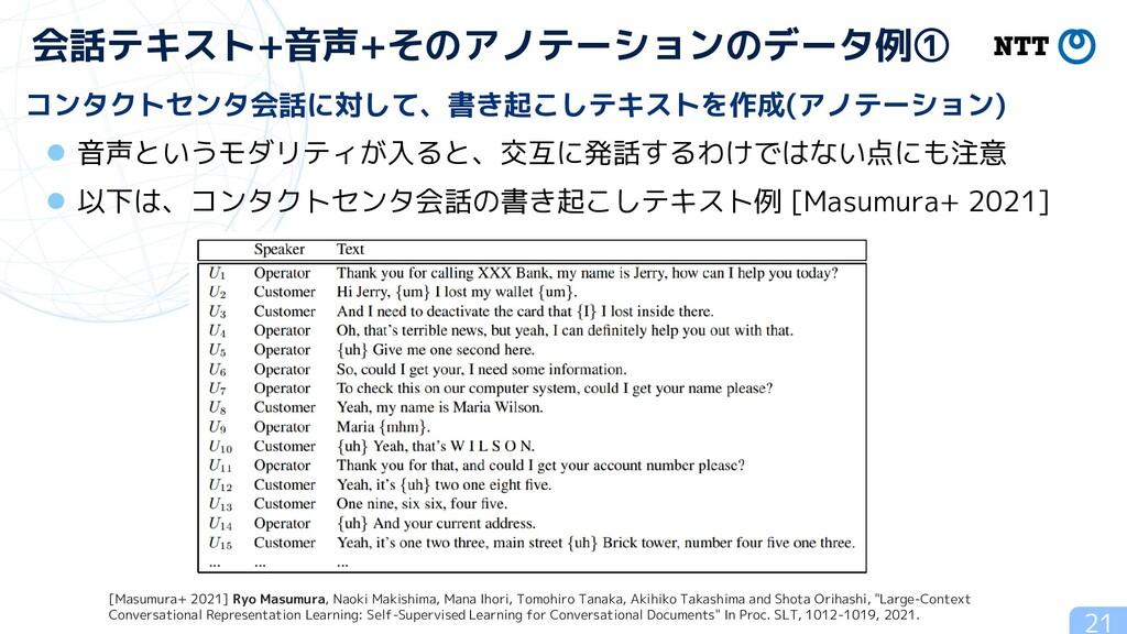 21 会話テキスト+音声+そのアノテーションのデータ例① コンタクトセンタ会話に対して、書き起...