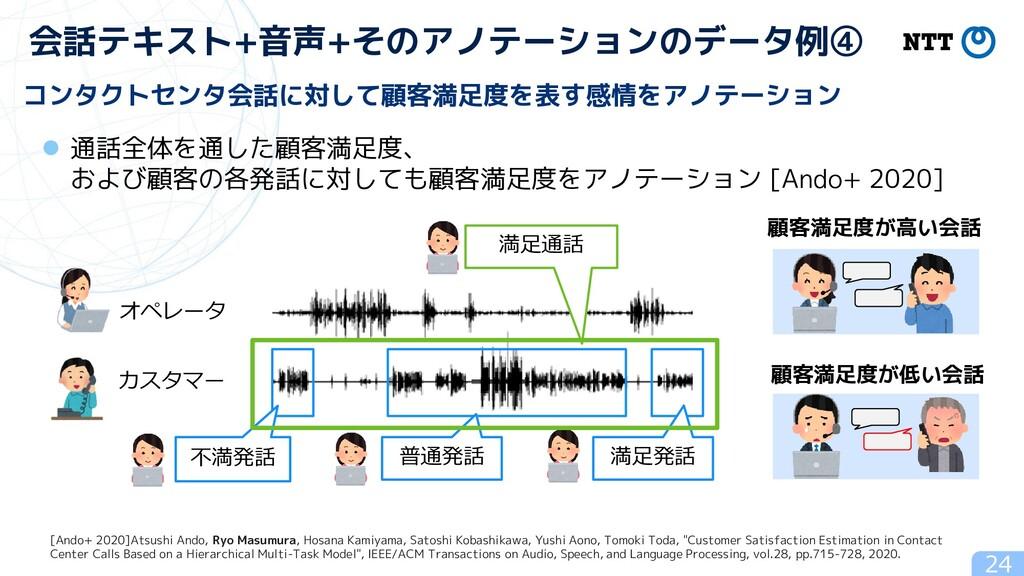 24 会話テキスト+音声+そのアノテーションのデータ例④ コンタクトセンタ会話に対して顧客満足...