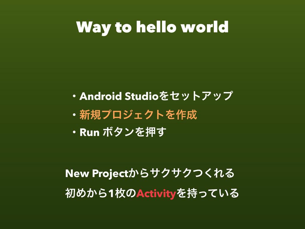 Way to hello world ɾAndroid StudioΛηοτΞοϓ ɾ৽نϓϩ...