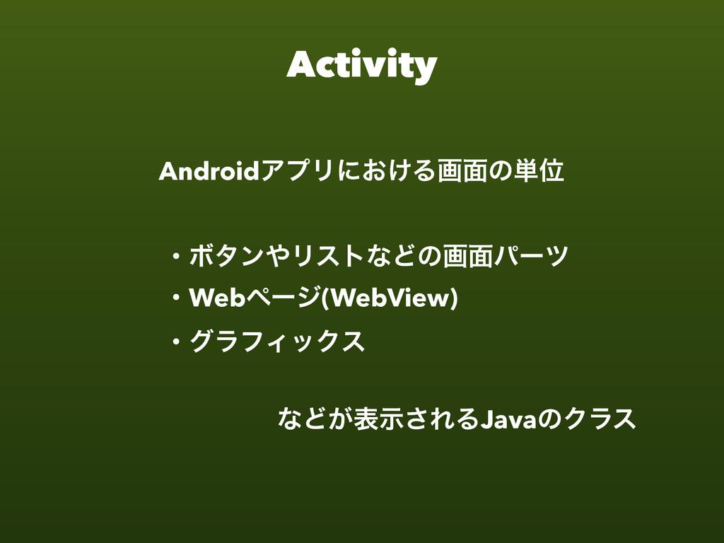 Activity ɾϘλϯϦετͳͲͷը໘ύʔπ ɾWebϖʔδ(WebView) ɾάϥϑ...