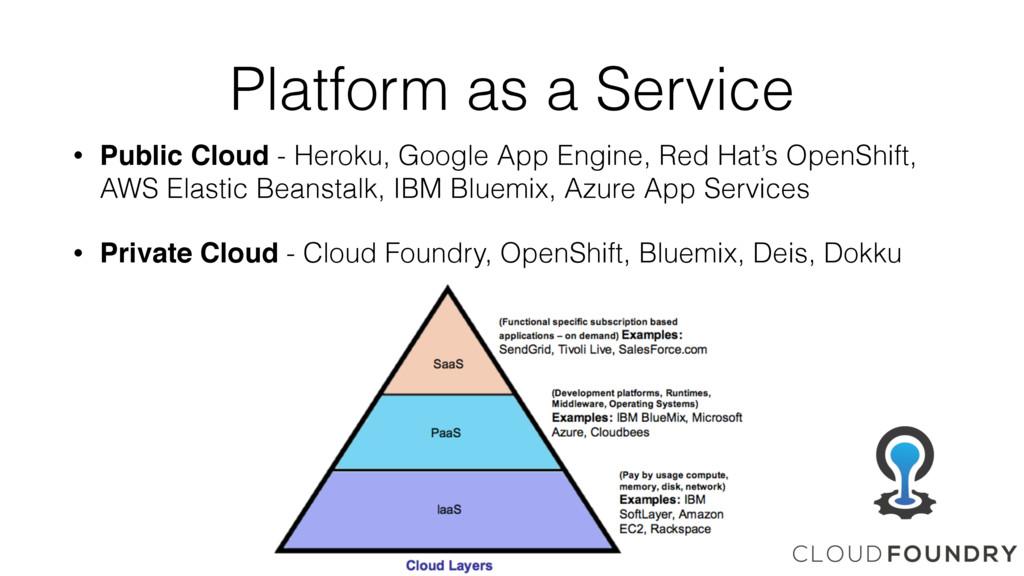 Platform as a Service • Public Cloud - Heroku, ...