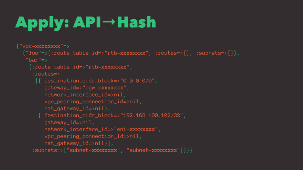 """Apply: API→Hash {""""vpc-xxxxxxxx""""=> {""""foo""""=>{:rou..."""