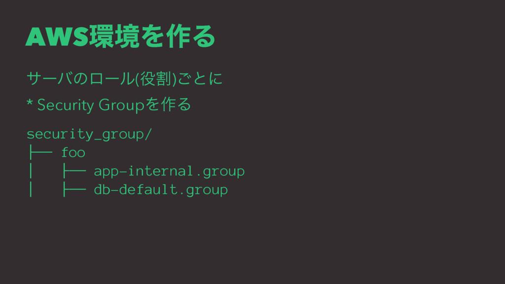 AWSڥΛ࡞Δ αʔόͷϩʔϧ(ׂ)͝ͱʹ * Security GroupΛ࡞Δ sec...