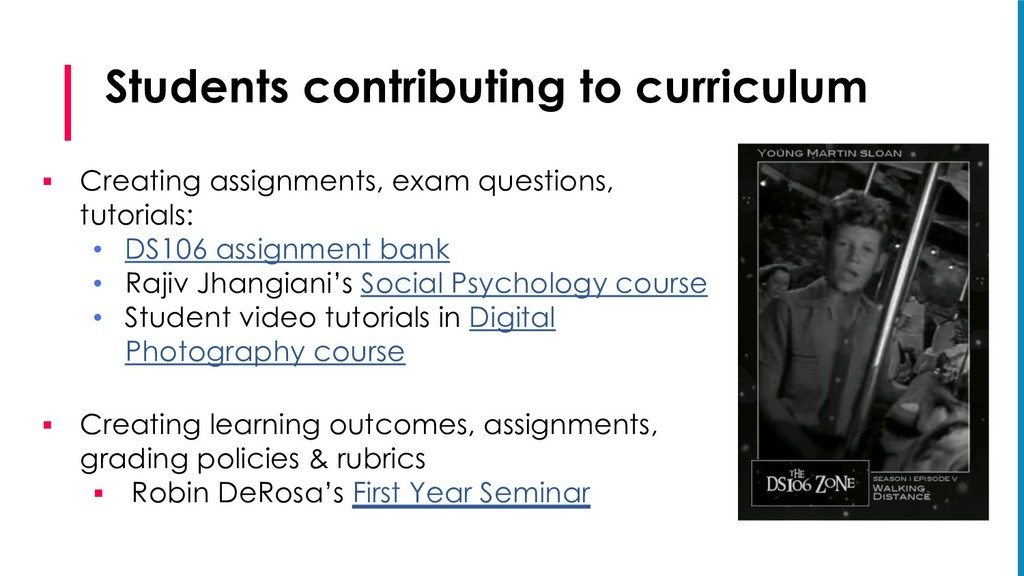 Students contributing to curriculum § Creating ...