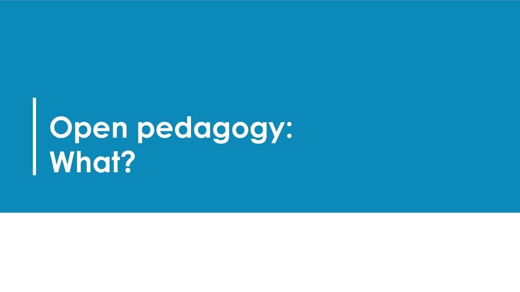 Open pedagogy: What?