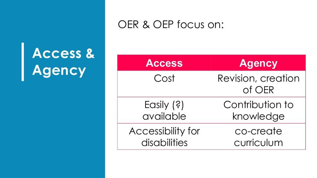 Access & Agency OER & OEP focus on: Access Agen...