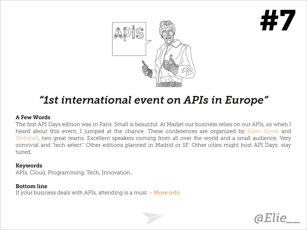"""1st international event on APIs in Europe"" A F..."