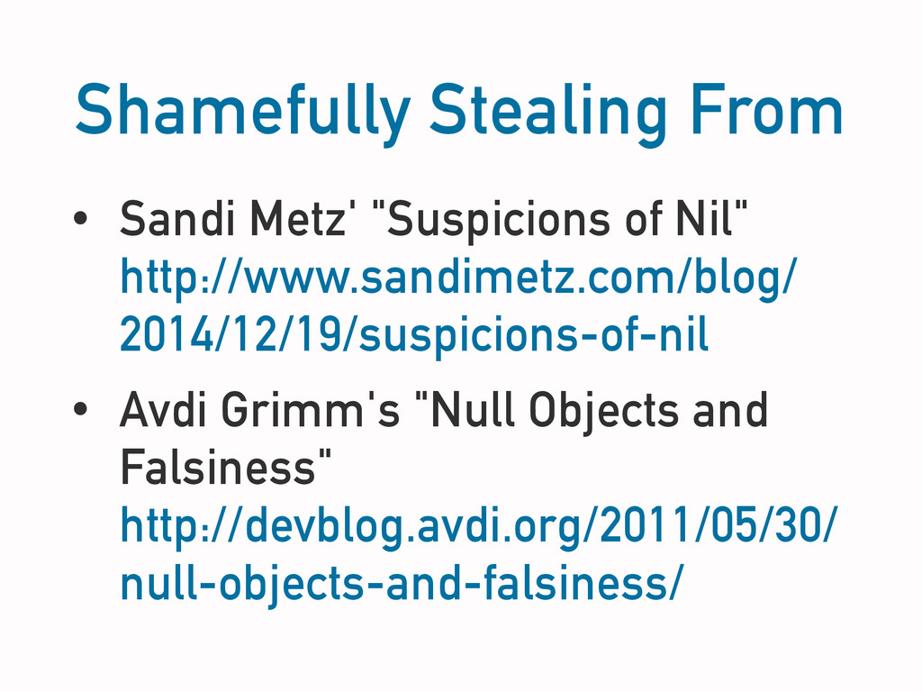 "Shamefully Stealing From • Sandi Metz' ""Suspici..."