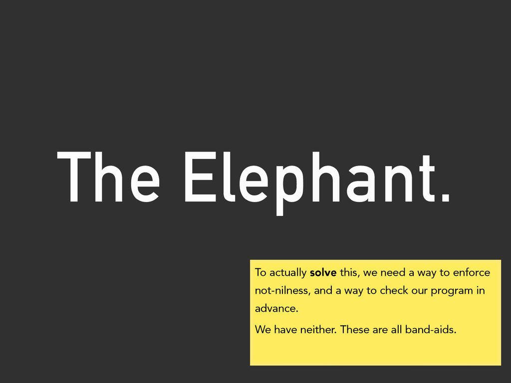 The Elephant. To actually solve this, we need a...
