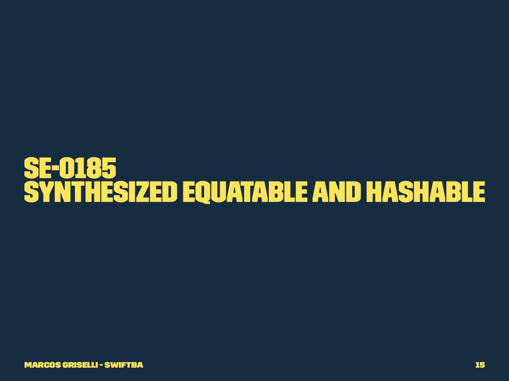 SE-0185 Synthesized Equatable and Hashable Marc...