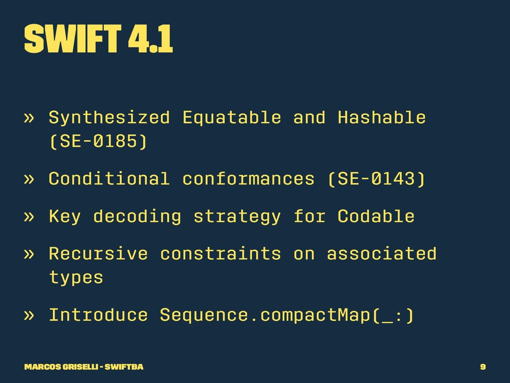 Swift 4.1 » Synthesized Equatable and Hashable ...