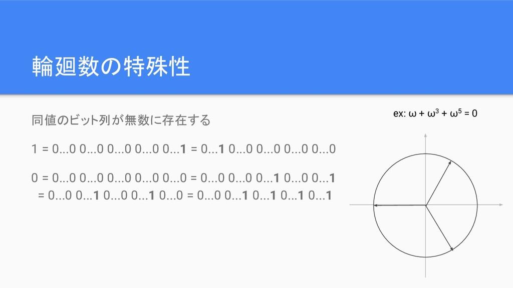 輪廻数の特殊性 同値のビット列が無数に存在する 1 = 0...0 0...0 0...0 0...