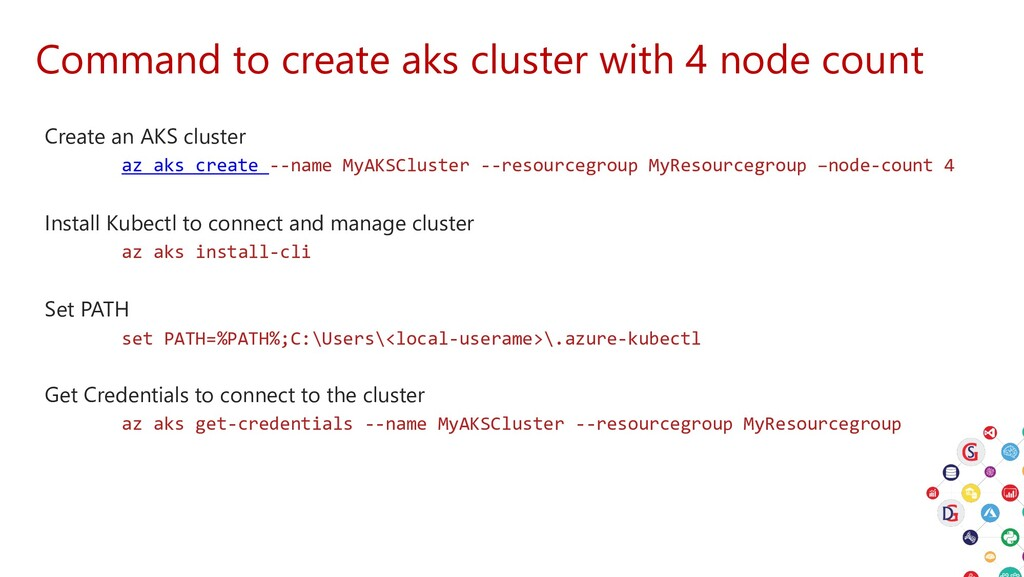 Command to create aks cluster with 4 node count...