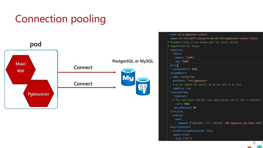 Connection pooling PostgreSQL or MySQL pod Main...