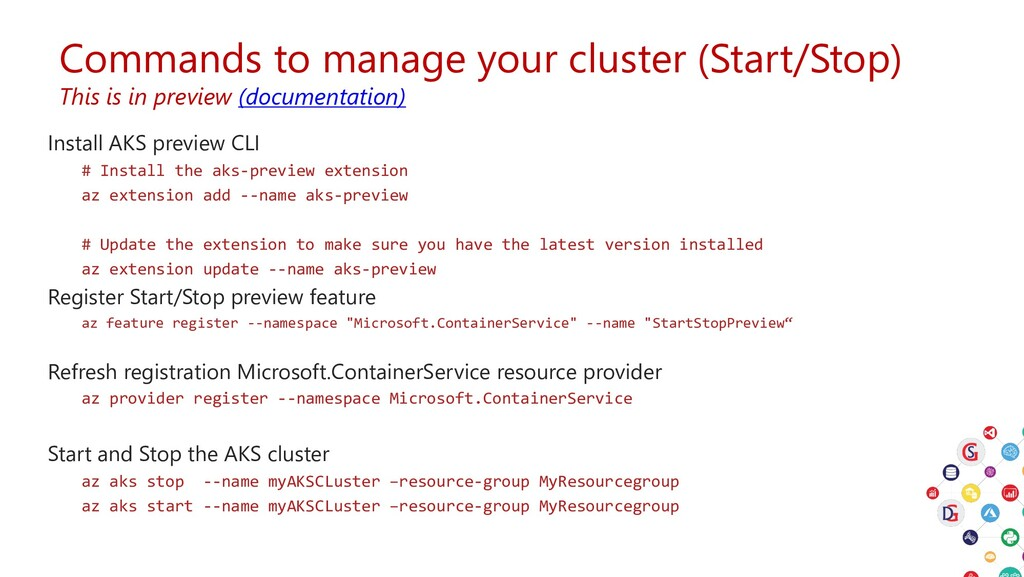 Commands to manage your cluster (Start/Stop) Th...