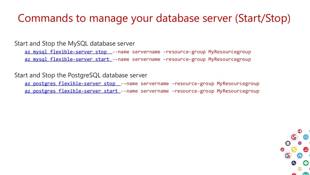 Commands to manage your database server (Start/...