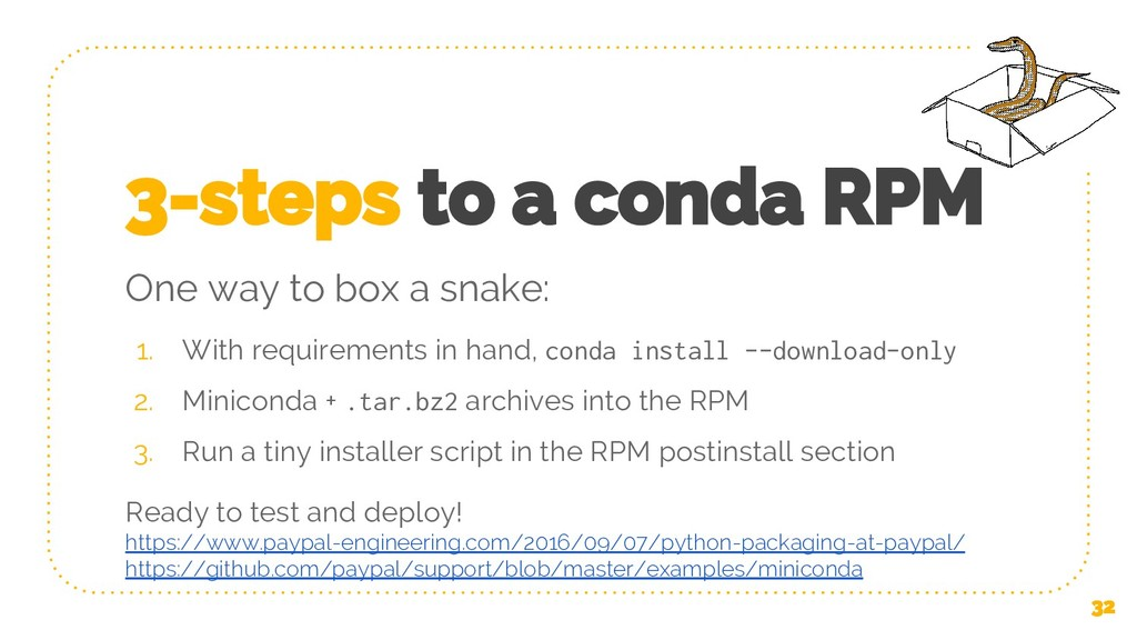 3-steps to a conda RPM 1. With requirements in ...