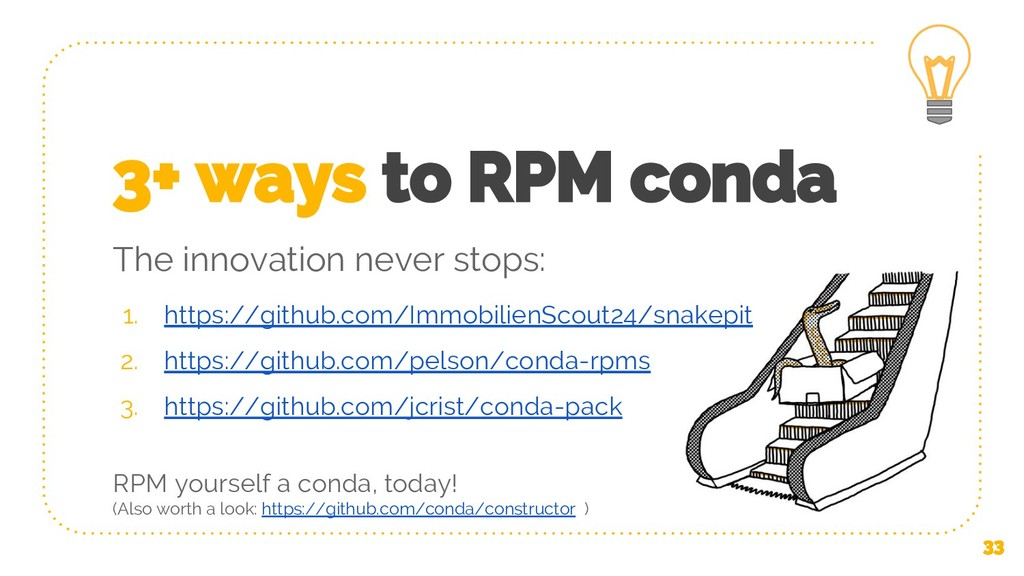 3+ ways to RPM conda 1. https://github.com/Immo...
