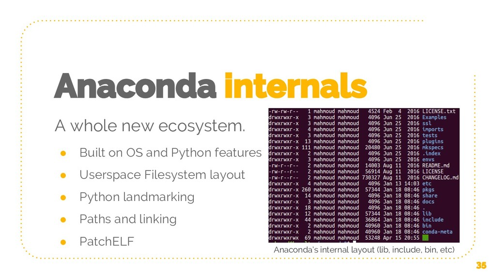 Anaconda internals ● Built on OS and Python fea...