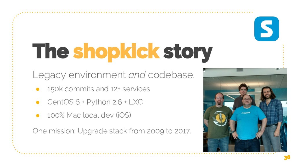 The shopkick story ● 150k commits and 12+ servi...
