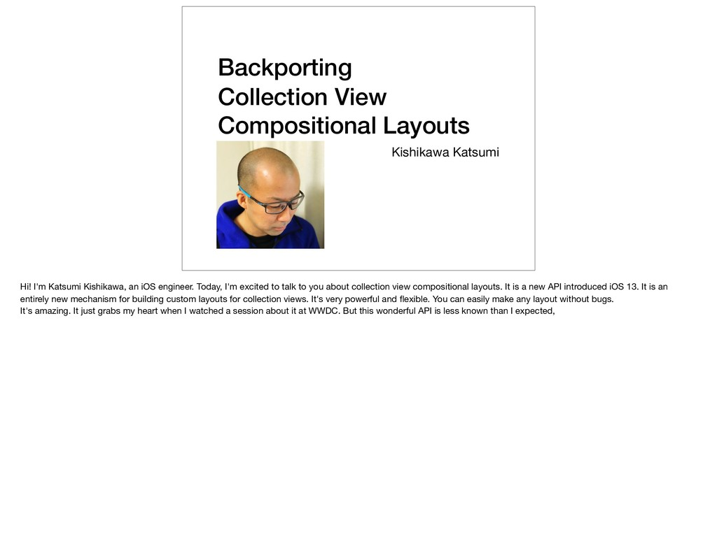 Backporting Collection View Compositional Layou...