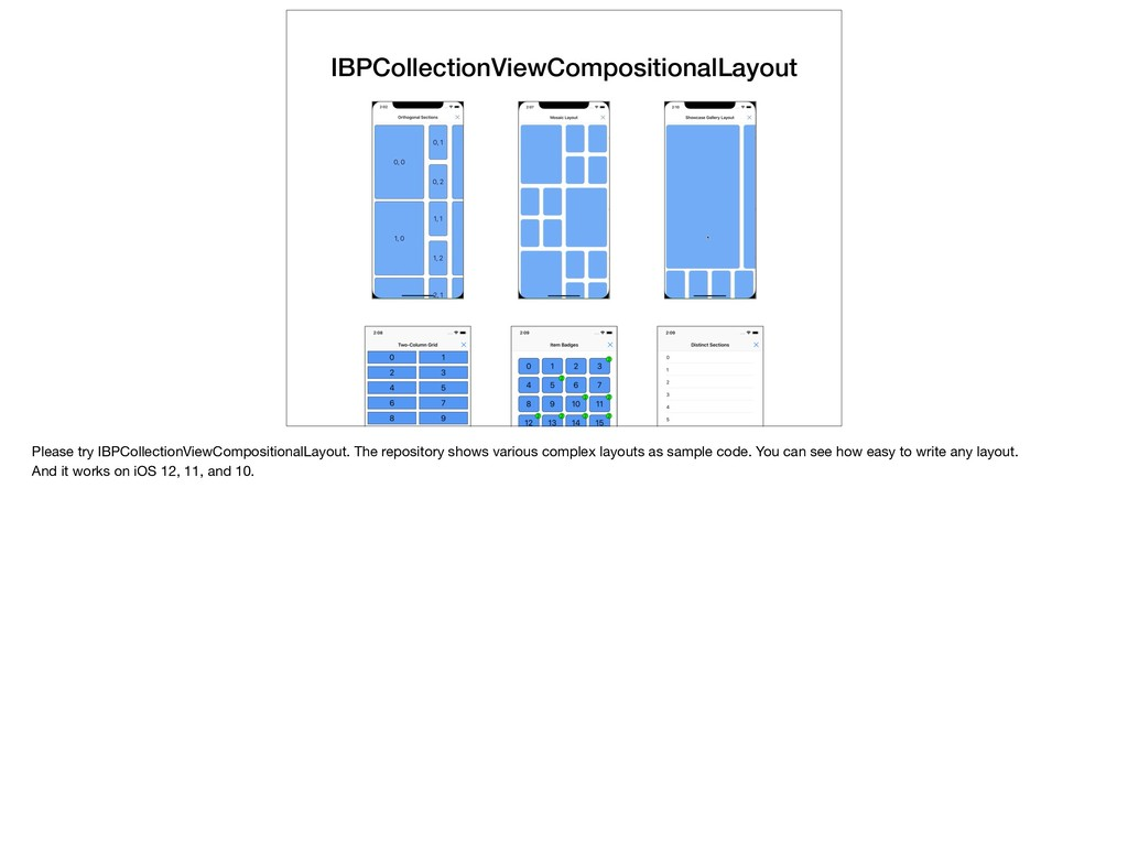 IBPCollectionViewCompositionalLayout Please try...