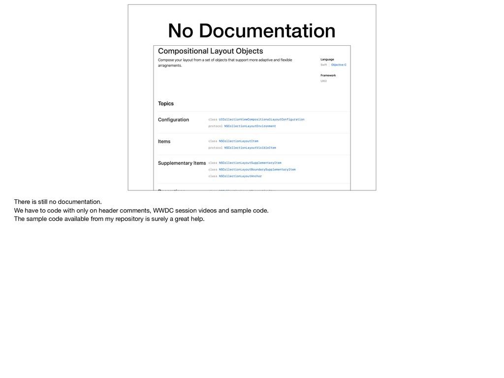 No Documentation There is still no documentatio...