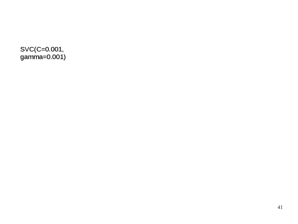 41 SVC(C=0.001, gamma=0.001)