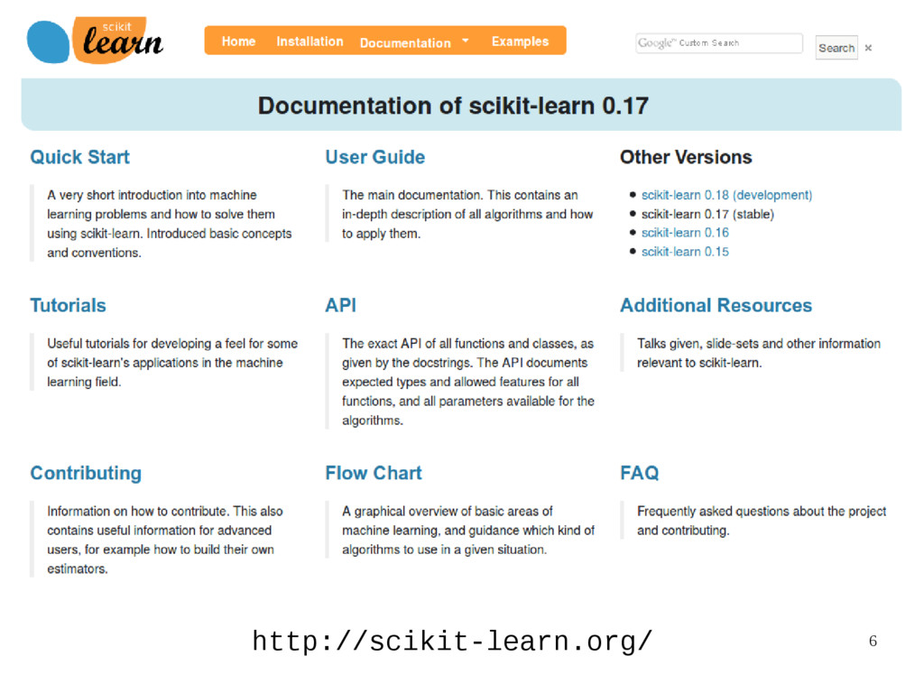 6 http://scikit-learn.org/