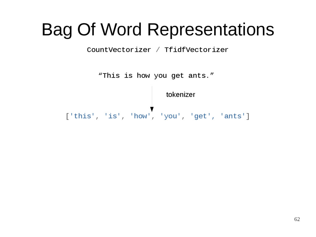 "62 Bag Of Word Representations ""This is how you..."