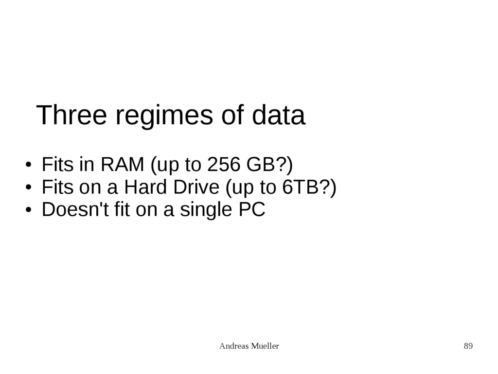 Andreas Mueller 89 Three regimes of data ● Fits...