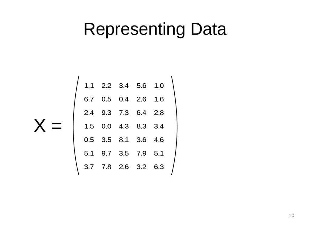 10 Representing Data X = 1.1 2.2 3.4 5.6 1.0 6....