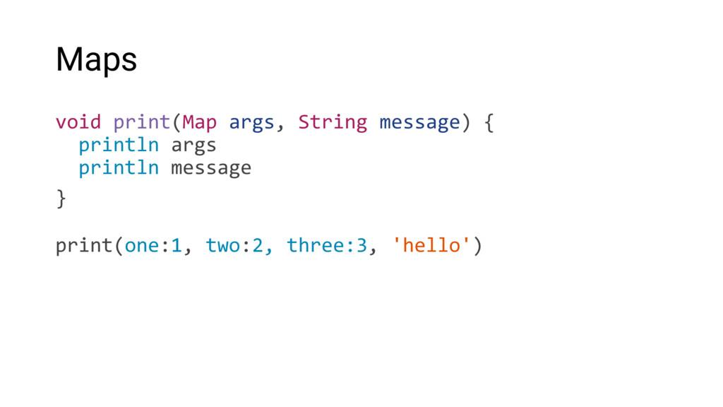 Maps void print(Map args, String message) { pri...