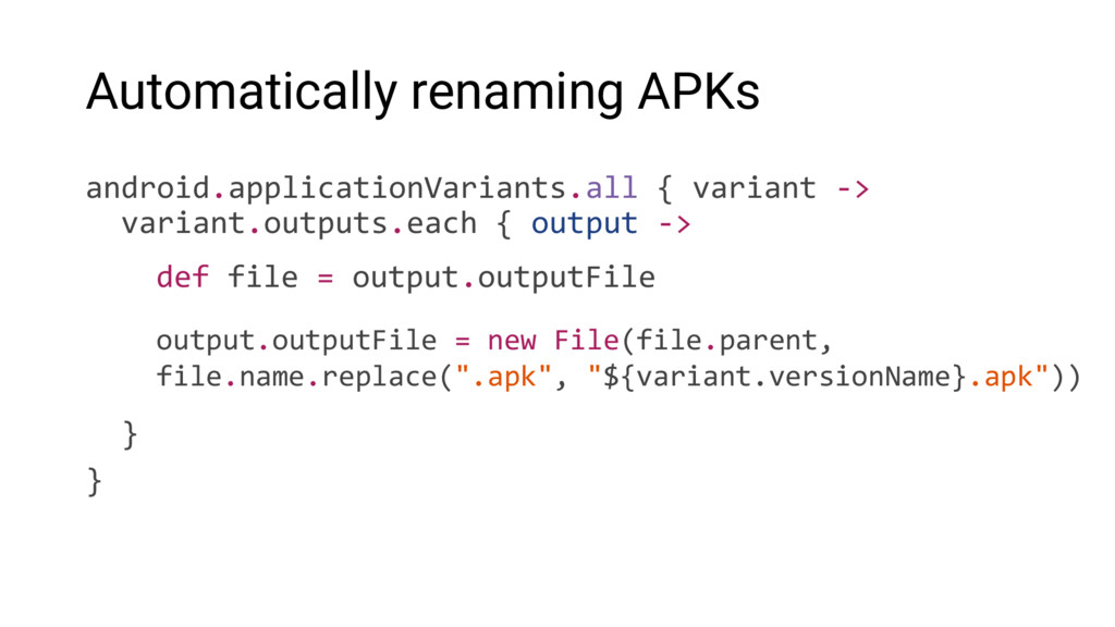 Automatically renaming APKs android.application...