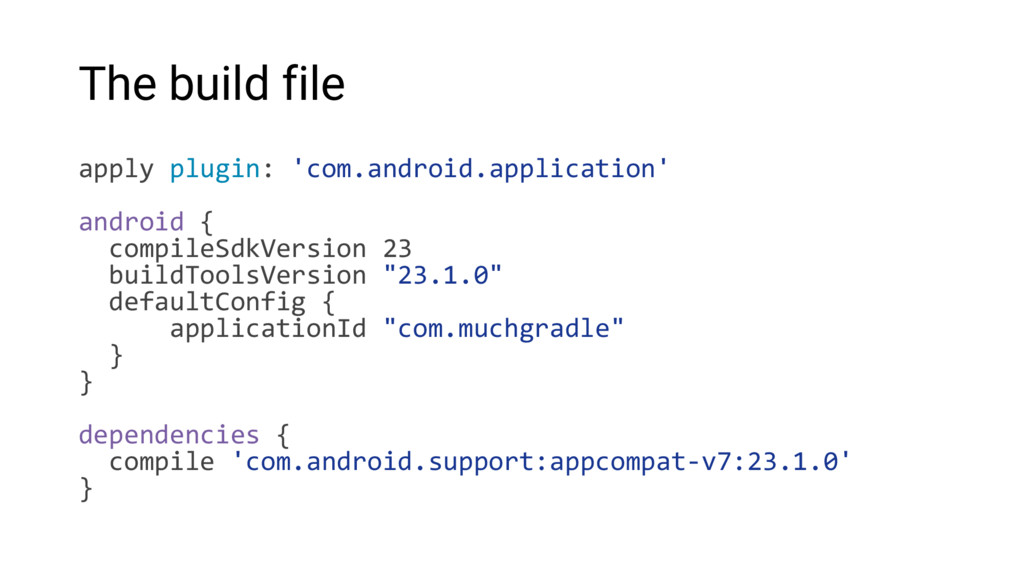 The build file apply plugin: 'com.android.appli...