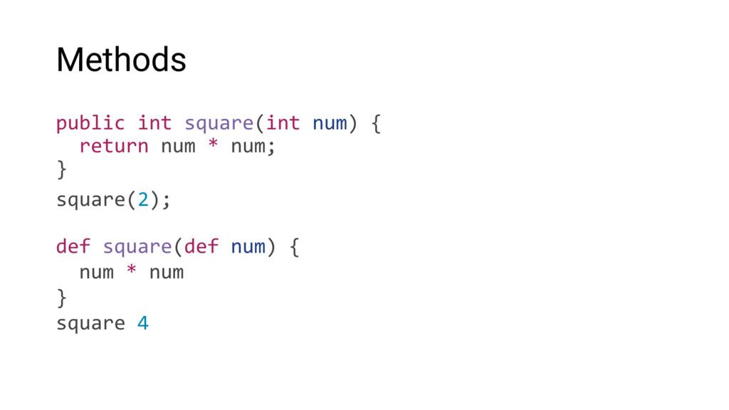 Methods public int square(int num) { return num...
