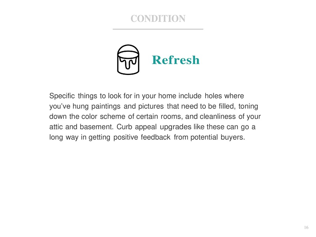 16 CONDITION Refresh Specific things to look fo...