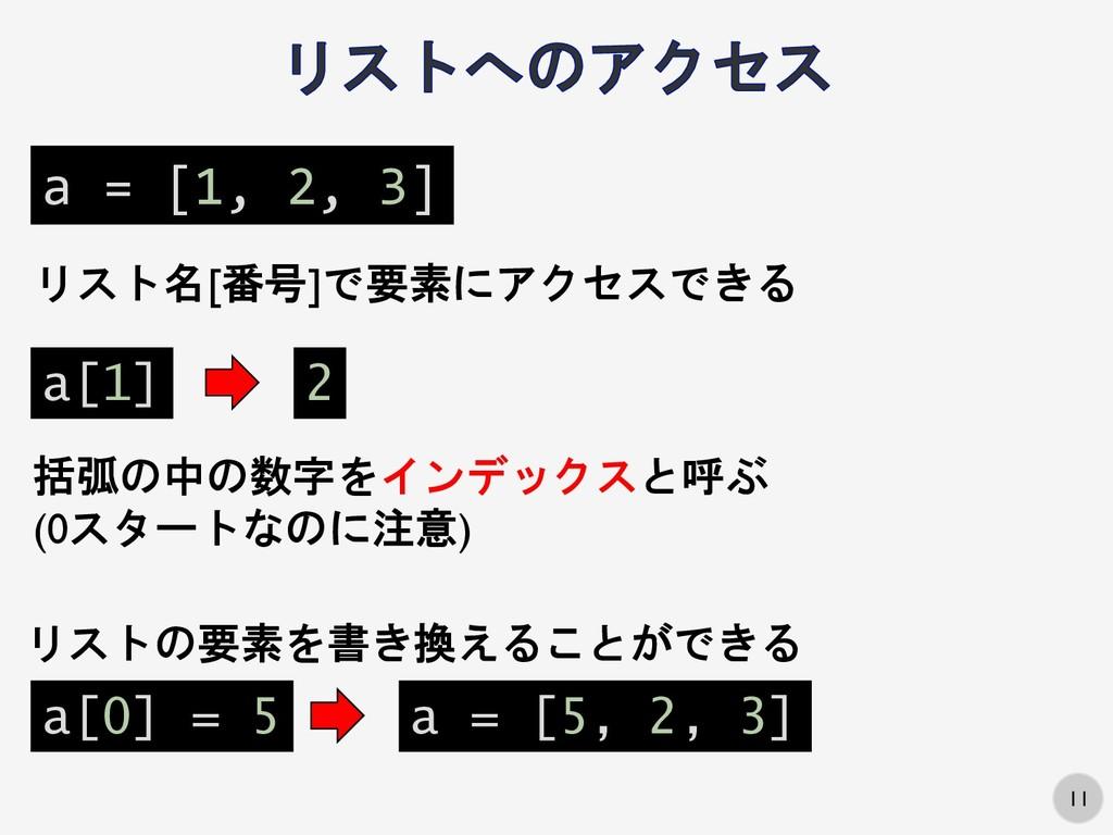 11 a = [1, 2, 3] リスト名[番号]で要素にアクセスできる a[1] 2 a[0...