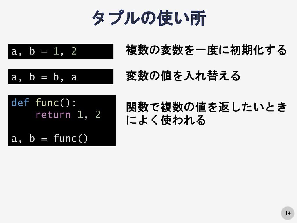 14 関数で複数の値を返したいとき によく使われる def func(): return 1,...