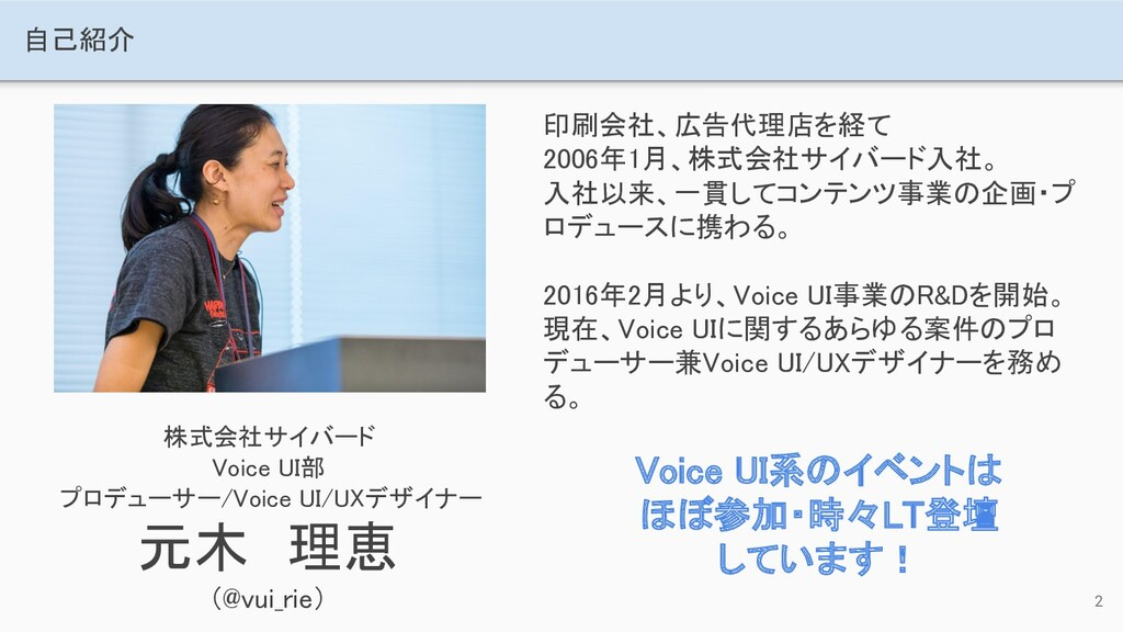 自己紹介 株式会社サイバード Voice UI部 プロデューサー/Voice UI/UX...