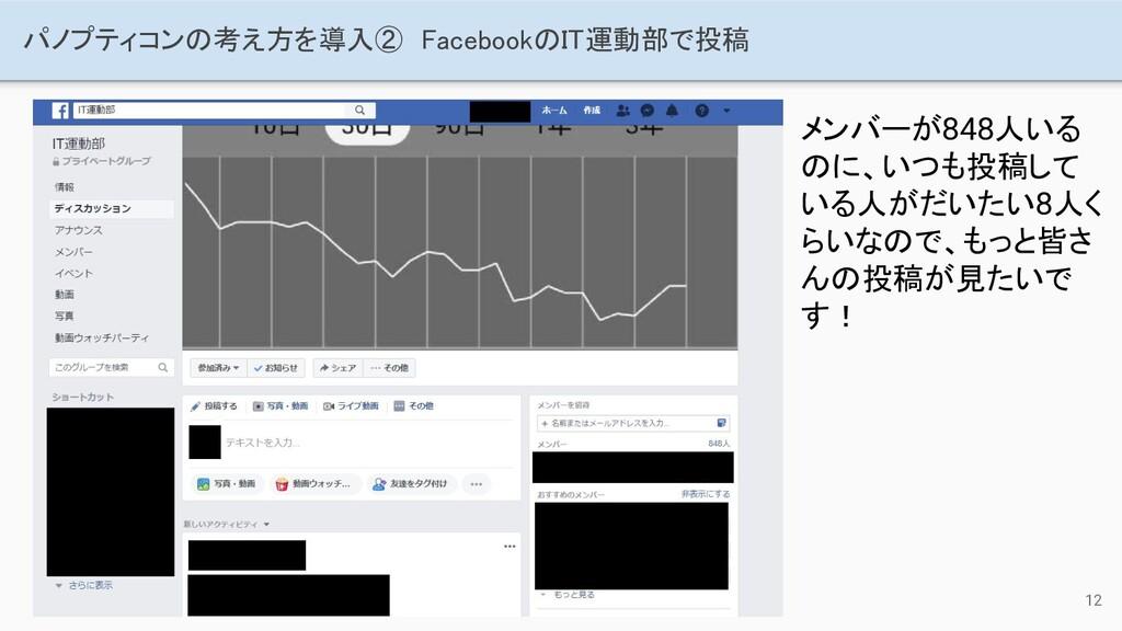 12 パノプティコンの考え方を導入② FacebookのIT運動部で投稿 メンバーが848人...