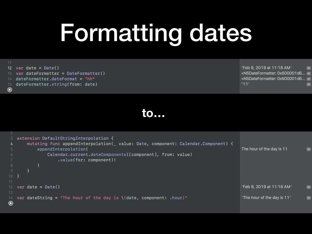 Formatting dates to…