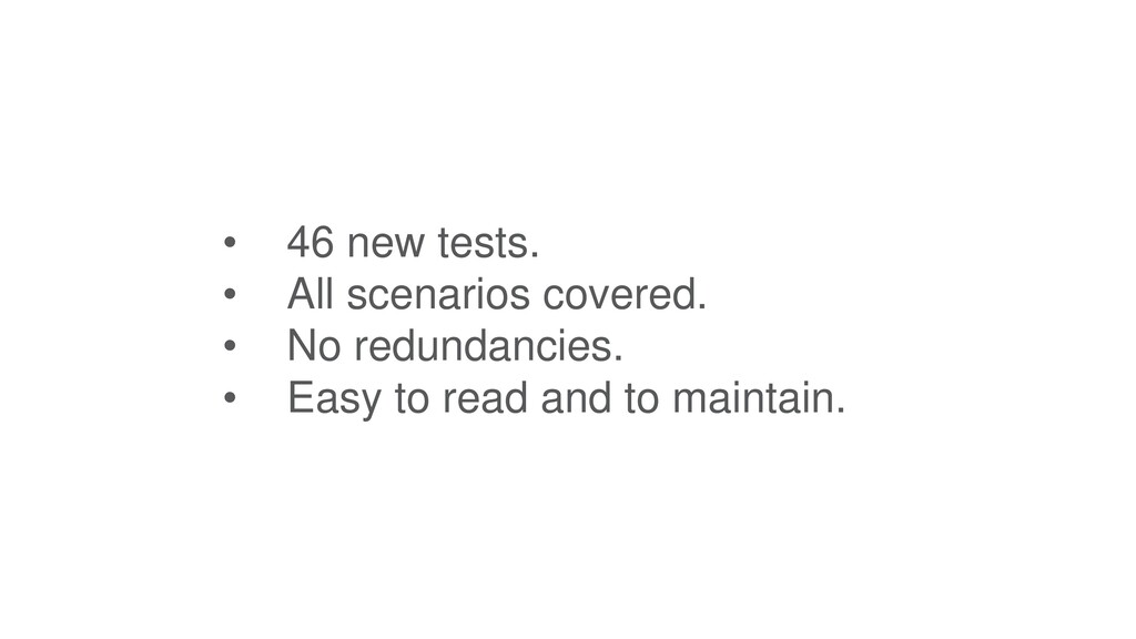 • 46 new tests. • All scenarios covered. • No r...