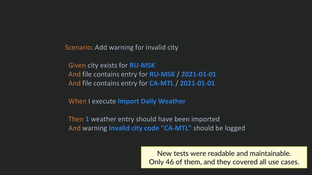 Scenario: Add warning for invalid city Given ci...