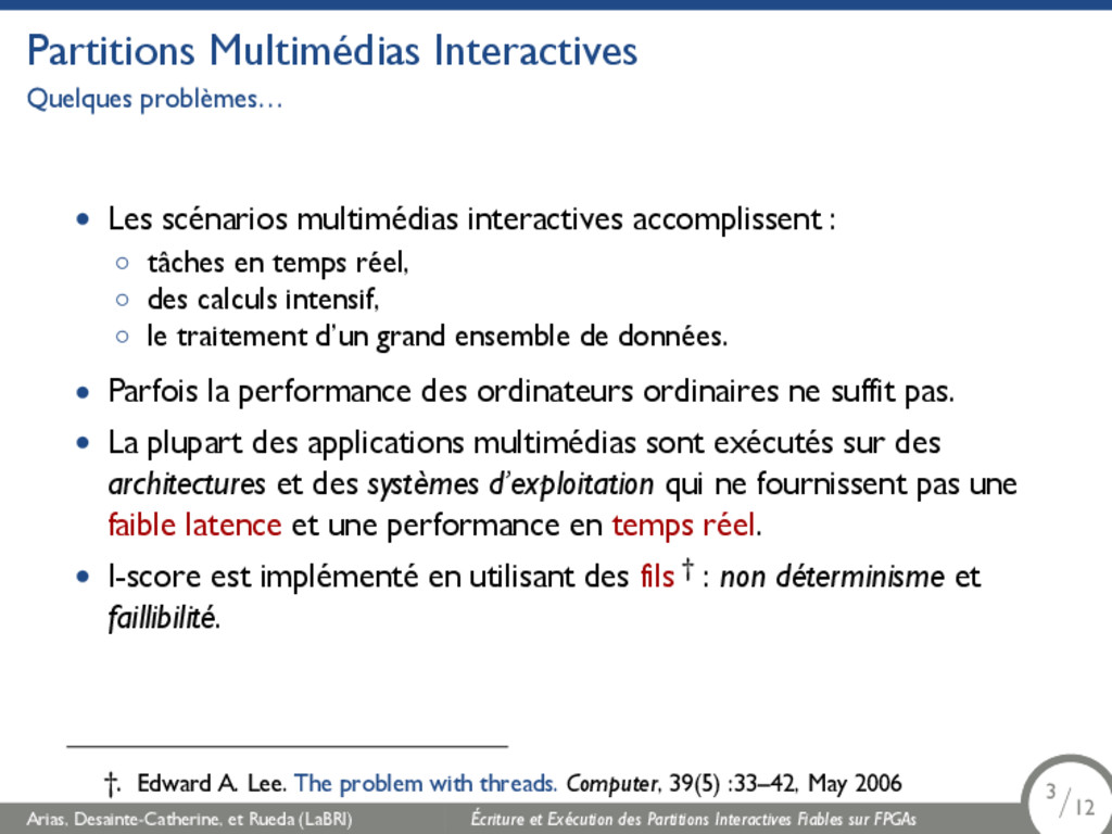 Partitions Multimédias Interactives Quelques pr...