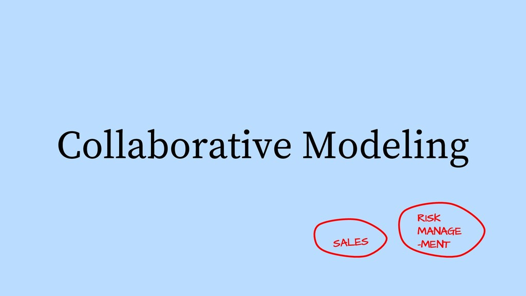 Collaborative Modeling RISK MANAGE -MENT SALES