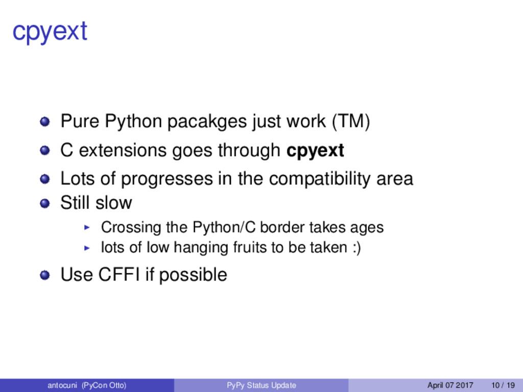 cpyext Pure Python pacakges just work (TM) C ex...