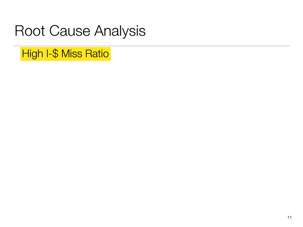 Root Cause Analysis 11 High I-$ Miss Ratio
