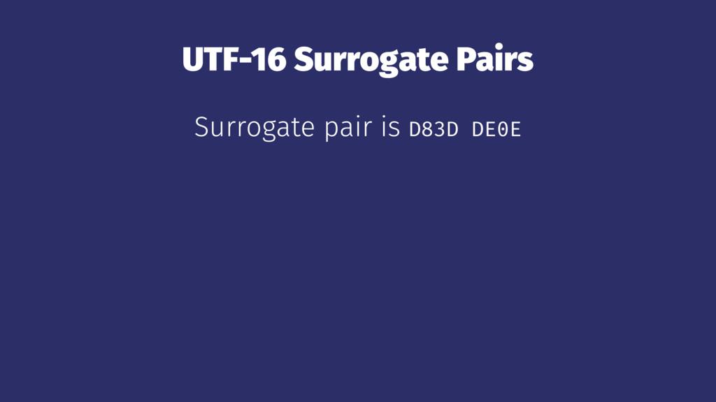 UTF-16 Surrogate Pairs Surrogate pair is D83D D...
