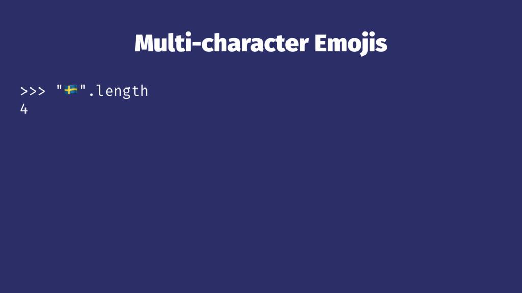 """Multi-character Emojis >>> """"!"""".length 4"""